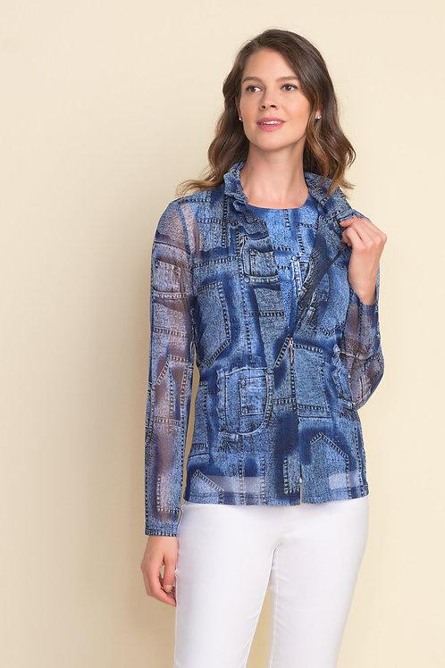 Joseph Ribkoff Blue Mesh Vest With Cami Style 212002