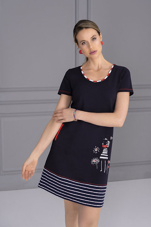 Dolcezza Navy/White/Red Dress Style 21108