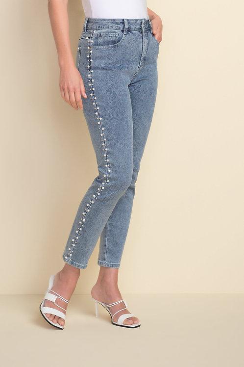 Joseph Ribkoff Light Blue/Pearl Trim Jeans Style 212933