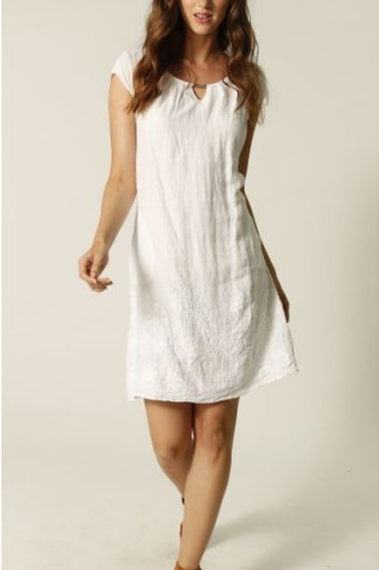 Femme Fatale White Embroidered Linen Dress Style 2110
