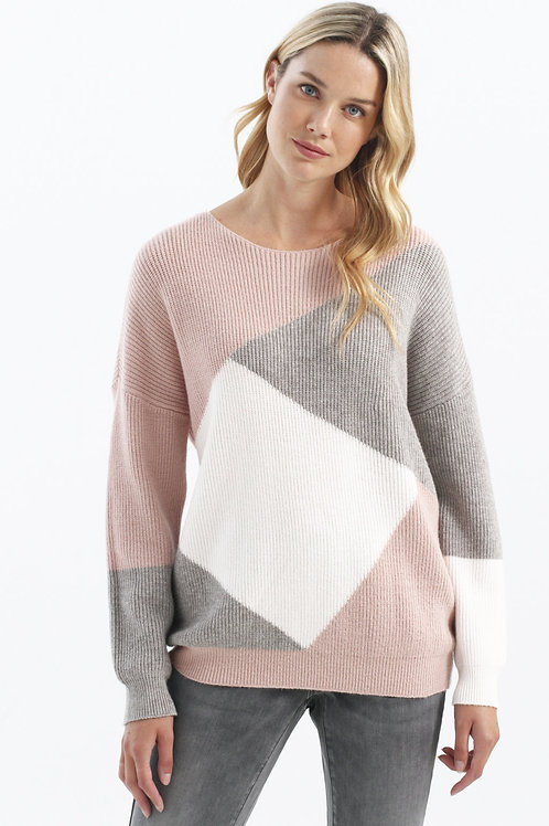 Charlie B Pink/Grey Sweater Style C2248
