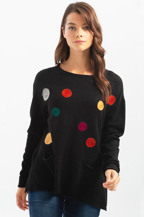 Charlie B Black/Multi Sweater Style C2213R