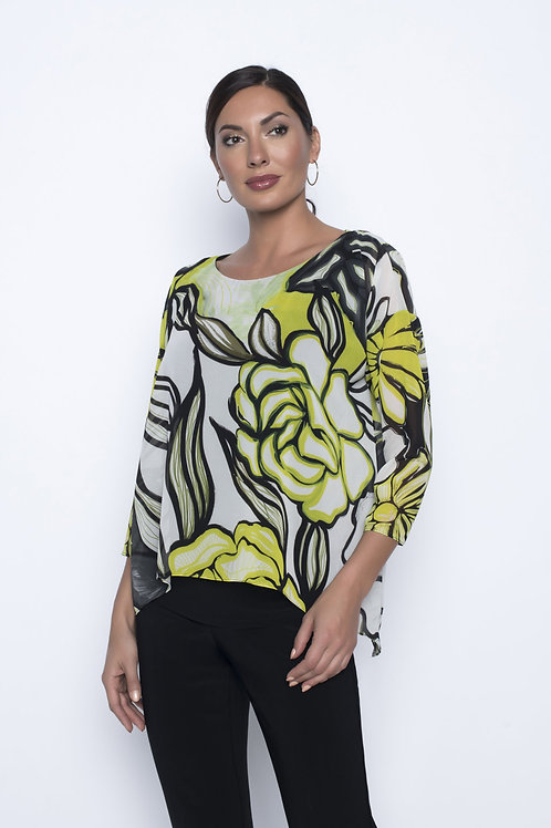 Frank Lyman White/Black/Lime Blouse #196700