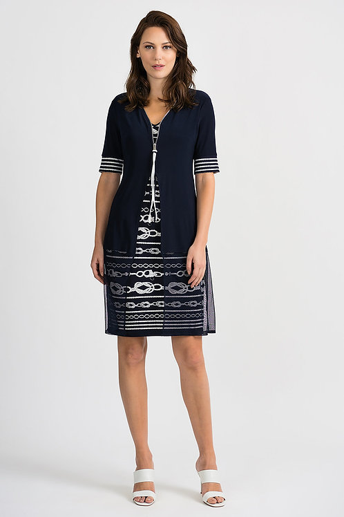 Joseph Ribkoff Midnight Blue/Vanilla Dress #201365