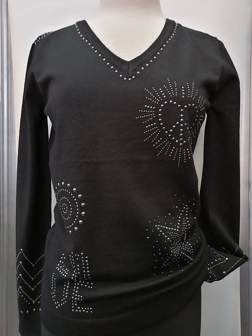 Orly Black/Silver Stods Light Sweater Style 11307
