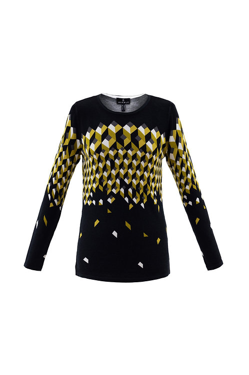 Marble Black/White/Mustard Sweater Style 5792