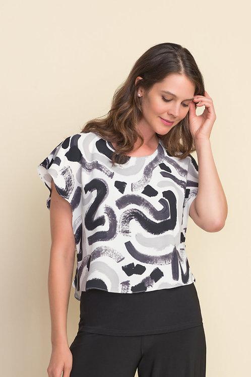 Joseph Ribkoff White/Grey/Black Top Style 212274