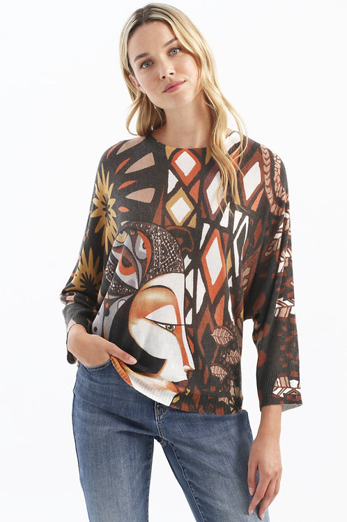 Charlie B Paprika/Multi Light Sweater Style C2308