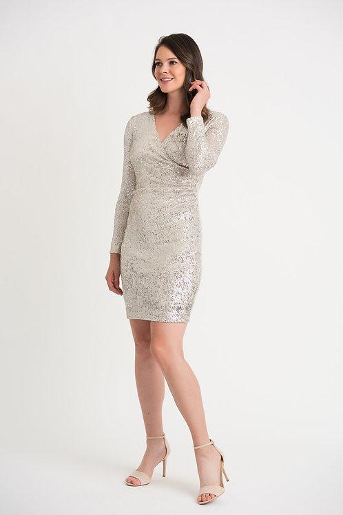Joseph Ribkoff Silver/Nude Dress Style 204314
