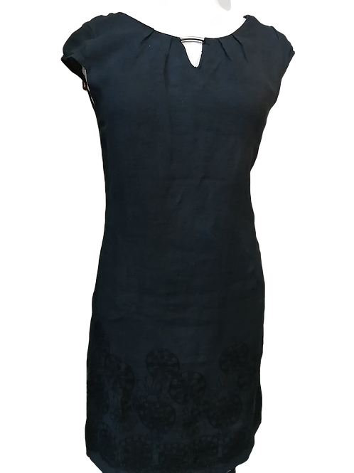 Femme Fatale Black Embroidered Linen Dress Style 2110
