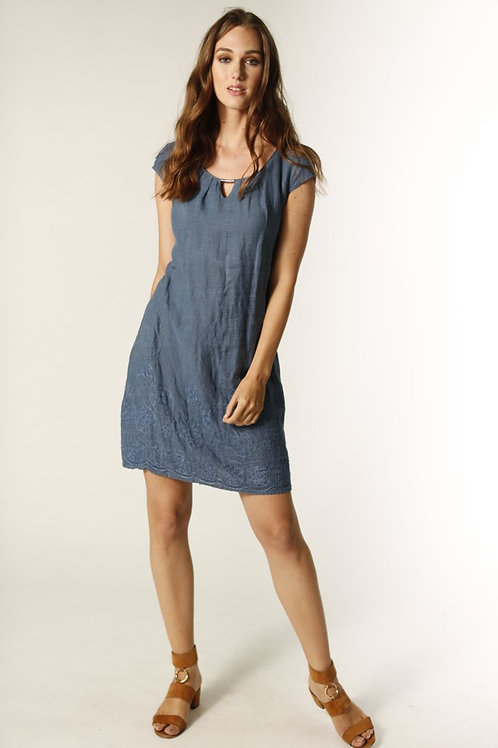 Femme Fatale Grey Blue Embroidered Linen Dress Style 2110