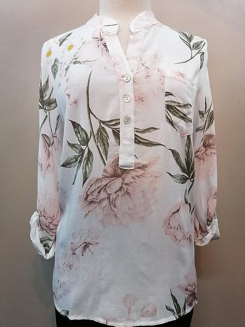 Femme Fatale White/Blush Blouse Style 2143