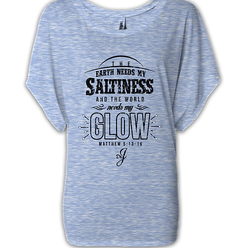 Saltiness and Glow - (Short Sleeve Boatneck Marble Blue)