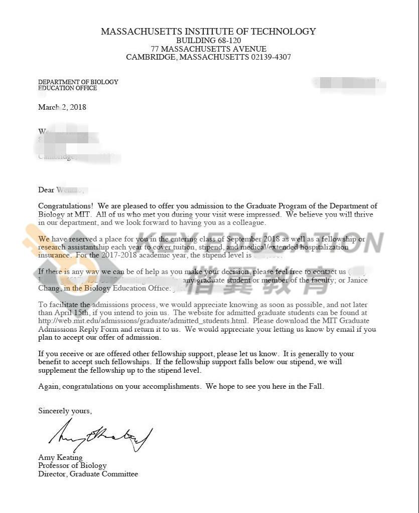 录取院校专业:麻省理工学院  生物学(全额奖学金)