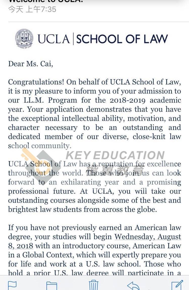 录取院校专业:加州大学洛杉矶 LLM(法学硕士)
