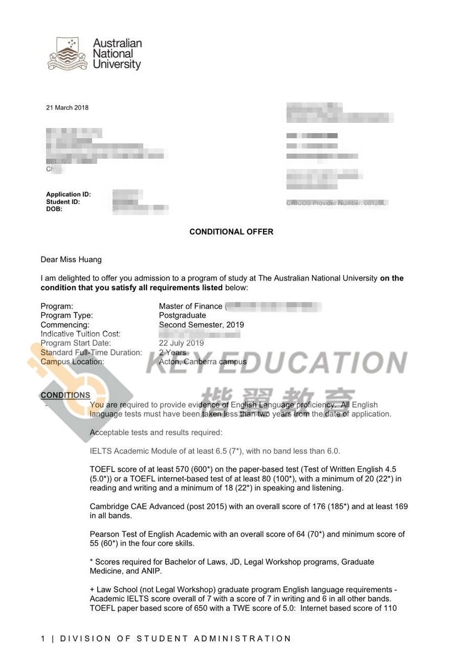 录取院校专业:澳洲国立Finance
