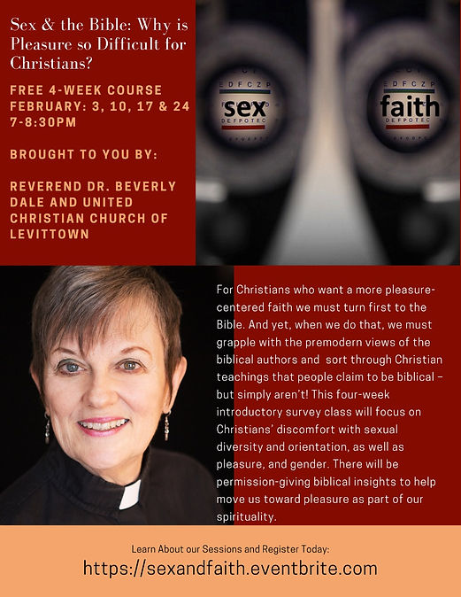 Sex and the Bible: Why is pleasure so difficult for Christians? A free 4-week course Feb 3, 10, 17 & 24 promo flyer
