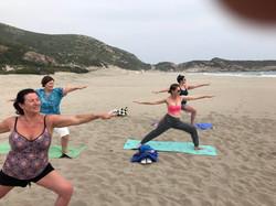 Yoga With VickiB Yoga students on Patara Beach, Kalkan