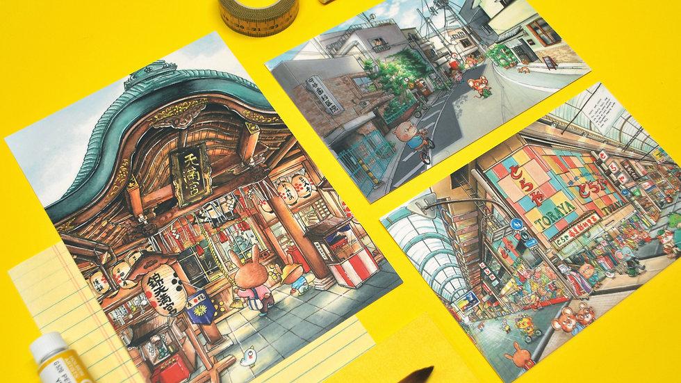 Postcard Set - Japan Streets