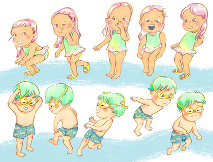 Character Design: Swimming boy and girl