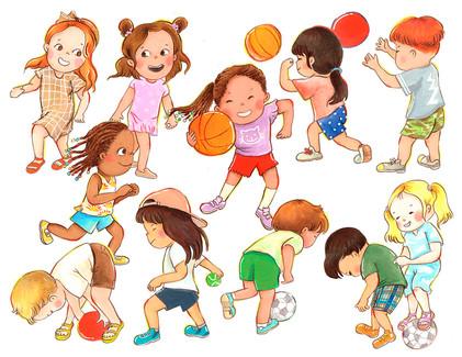 Character Design: Kids Playing Ball