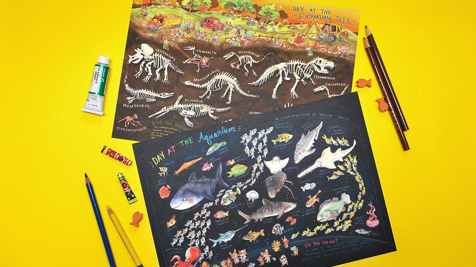 Encyclopedia Posters Set - Dinos +Aquarium