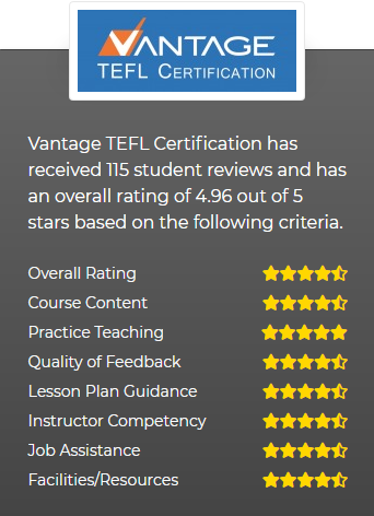 TCR has rated Vantage as Thailand's Top TEFL Provider