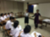 Saliha directs her TEFL class