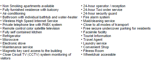 A list of facilities at the Poonchock Mansions Service Apartments