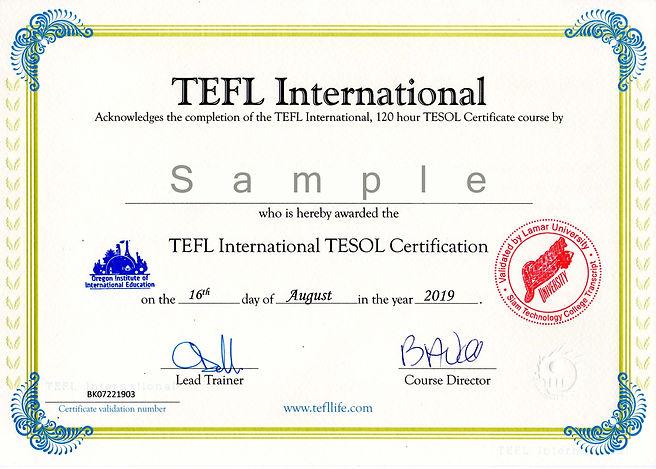 Vantage TEFL Certificate Sample