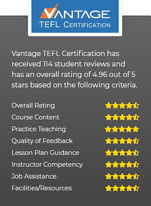 114 Reviews for Vantage TEFL Certification