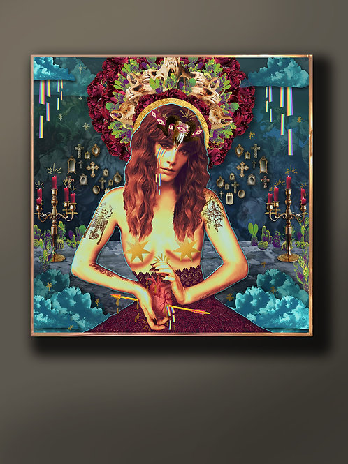 """14x14 """"High Priestess"""" One-Of-A-Kind Wood Panel & Resin Collage"""