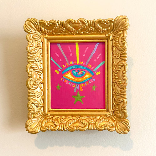 Evil Eye Painting (PINK #11) RECTANGLE 2.0
