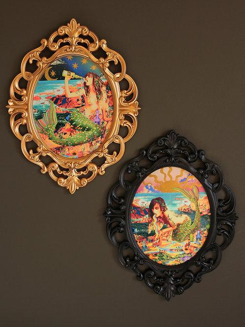 """Trouble in Paradise"" Mermaids - Framed Resin-Coated Pair of Miniatures"