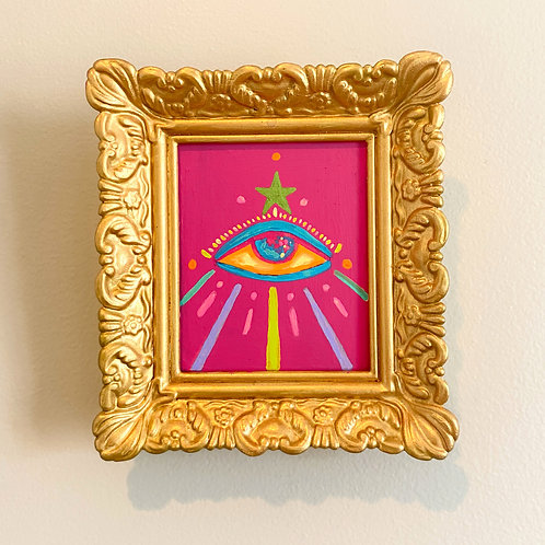 Evil Eye Painting (PINK #13) RECTANGLE 2.0