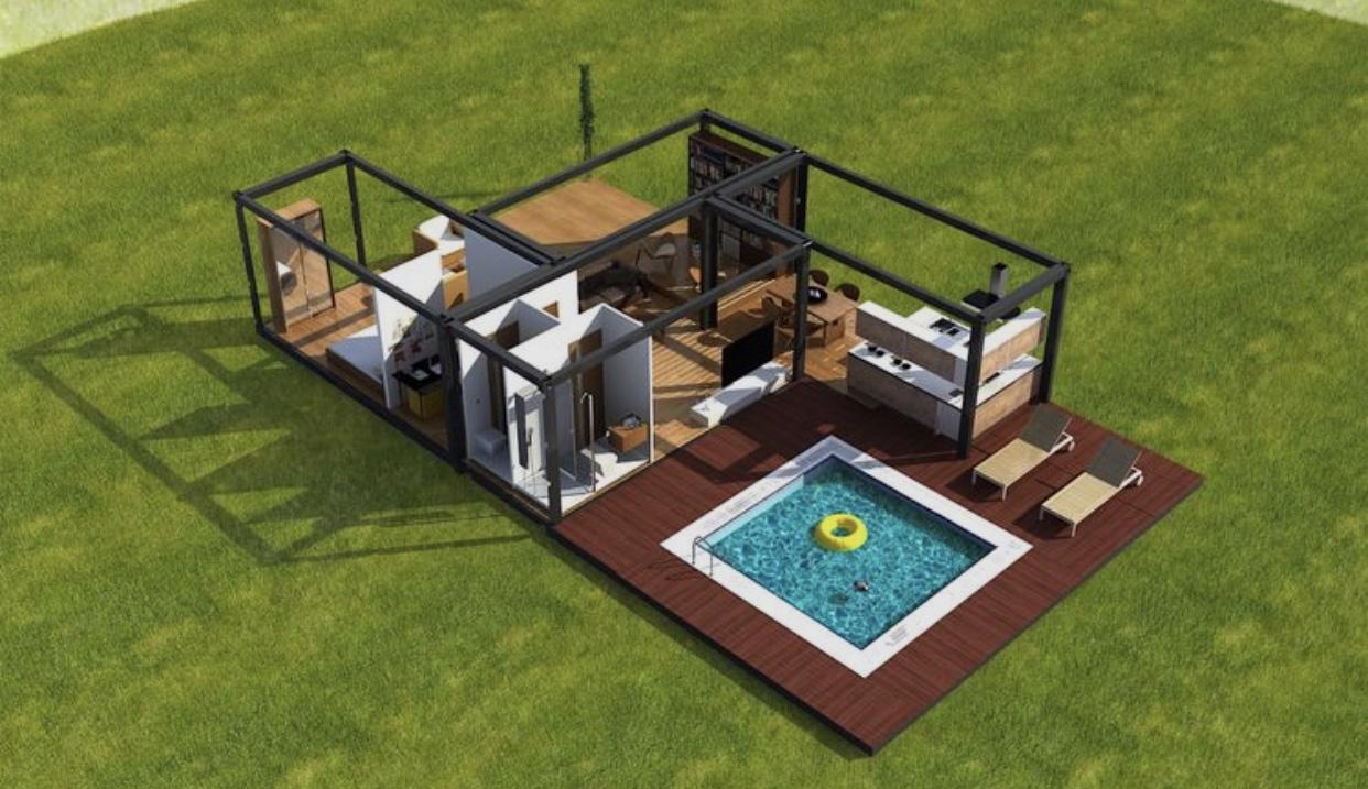 60m²4 Containers 20 pés 60m² - Deck 35m²