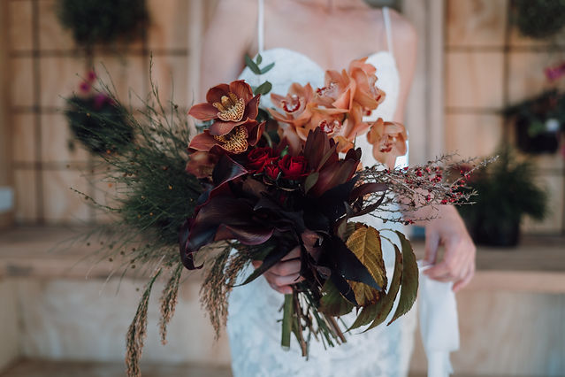 Greg Campbell Photography rust burgundy red bouquet one poppy wedding flowers - Little Wilde