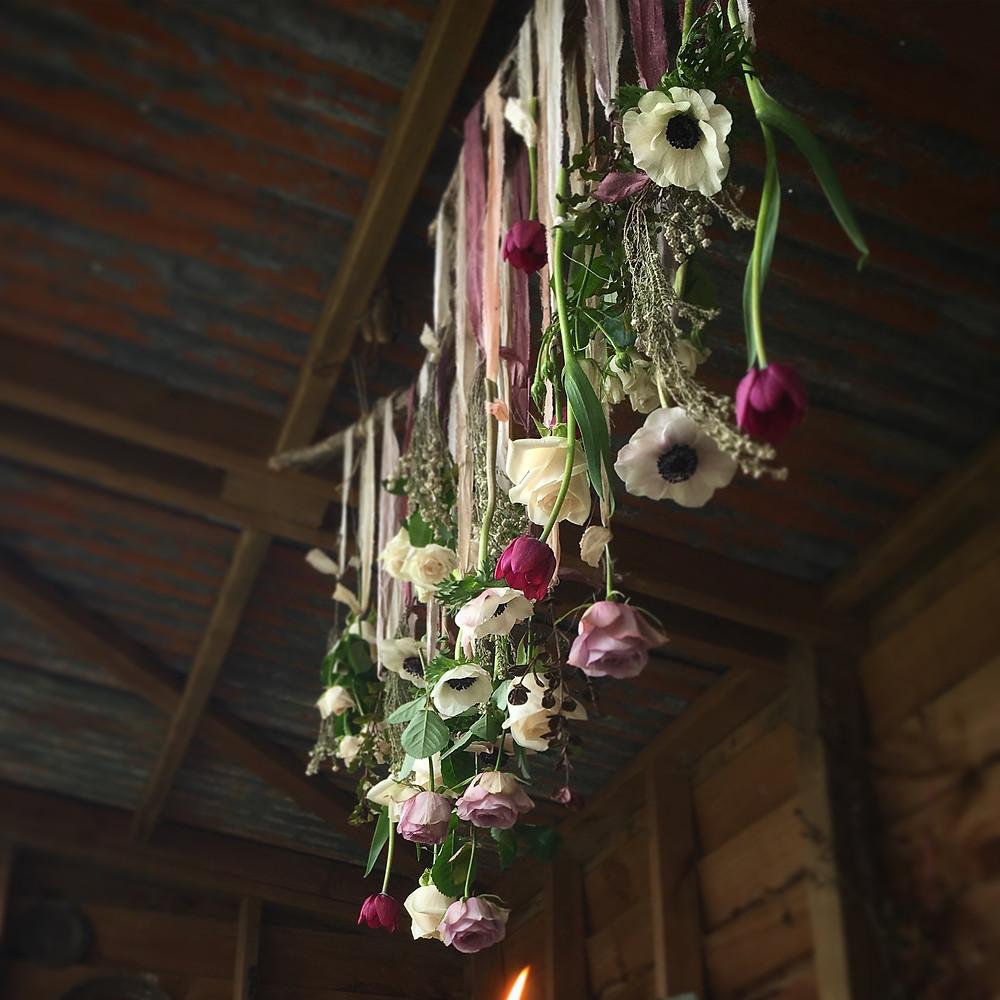 recycled silk, winter fresh flowers, hanging installation, one poppy wedding flowers