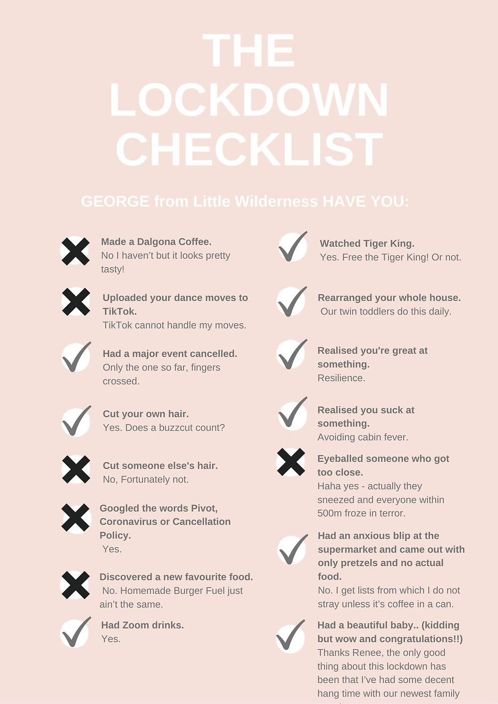 Lockdown checklist Sarah Jane Letters