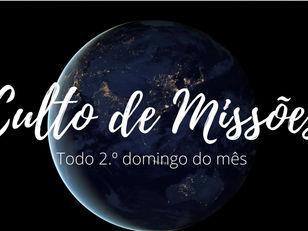 Domingo Missionário ás 18H00 Dia 13/09/2020 na IEC Soteco