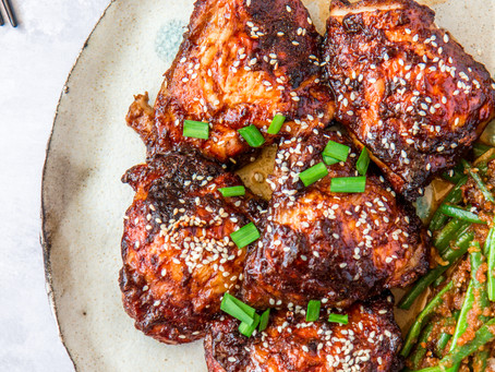 Roasted Sticky Five Spice Chicken Thighs