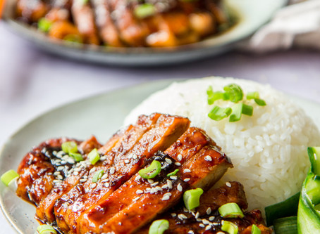 Sweet & Sticky Pork with Pickled Cucumber