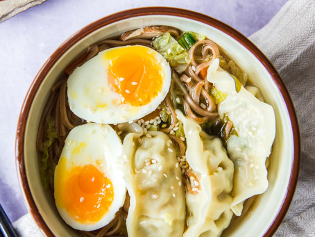 Non-Traditional Miso Noodle Soup with Dumplings