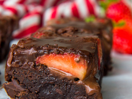 Ganache-Covered Strawberry Brownies
