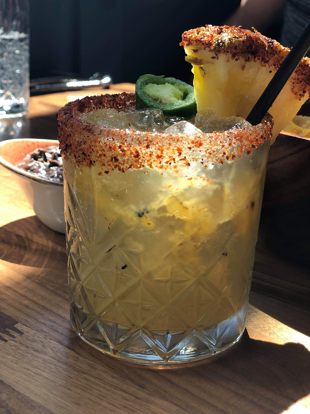 Grilled pineapple and chili margarita at Calo Kitchen and Tequila