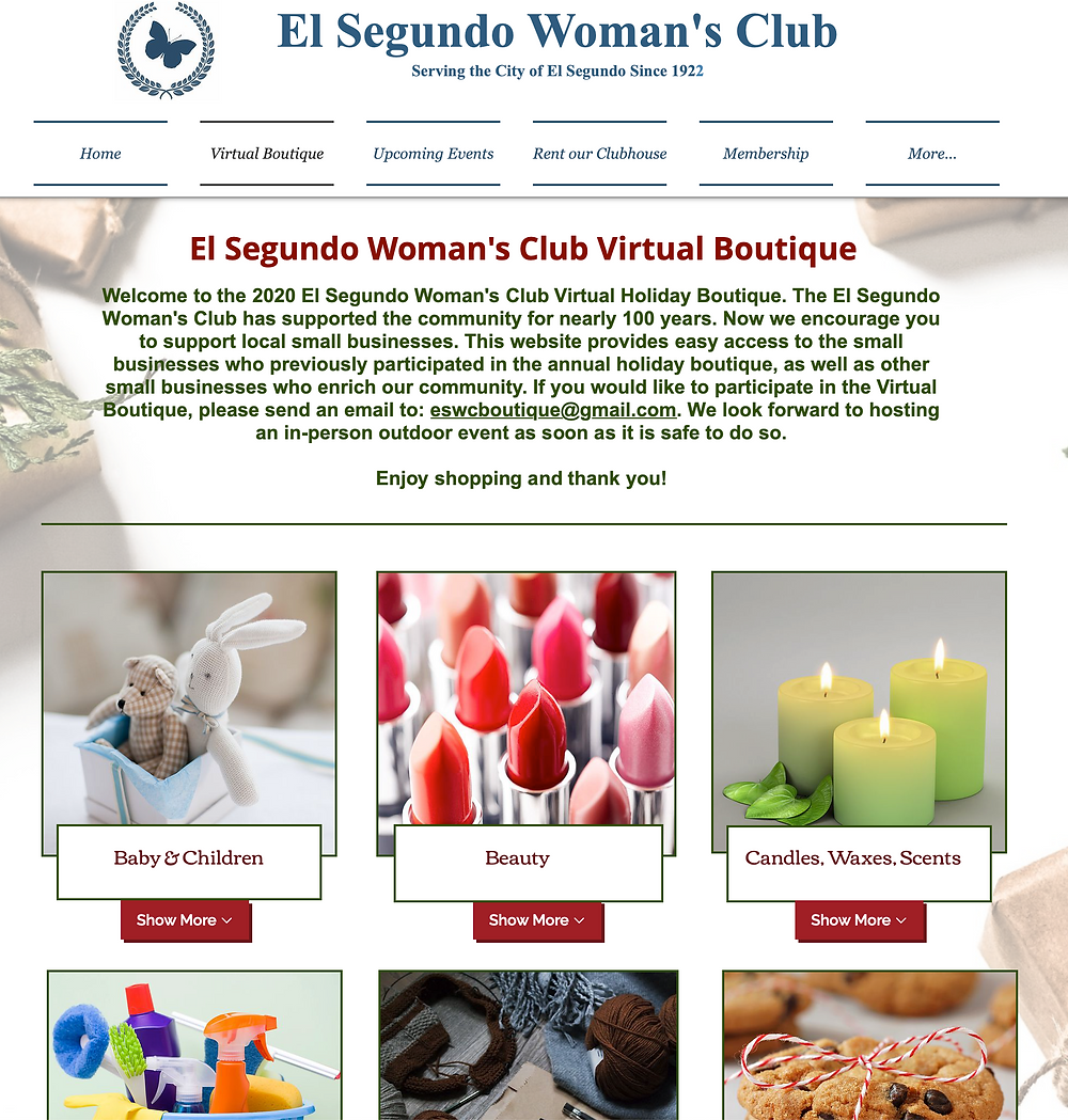 Screen grab of the web page for El Segundo Woman's Club's holiday boutique
