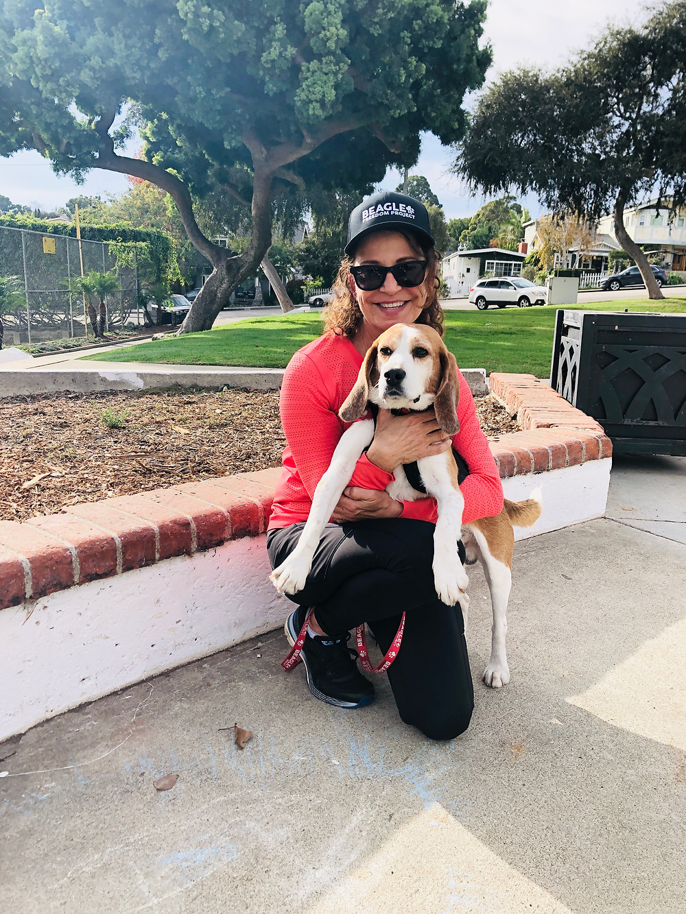 Eileen Bell and her rescue beagle, Journey, in Recreation Park