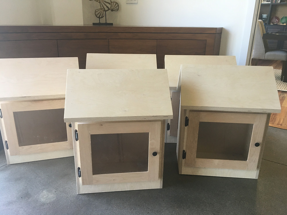 Unpainted Little Free Libraries constructed by Custom Design & Construction