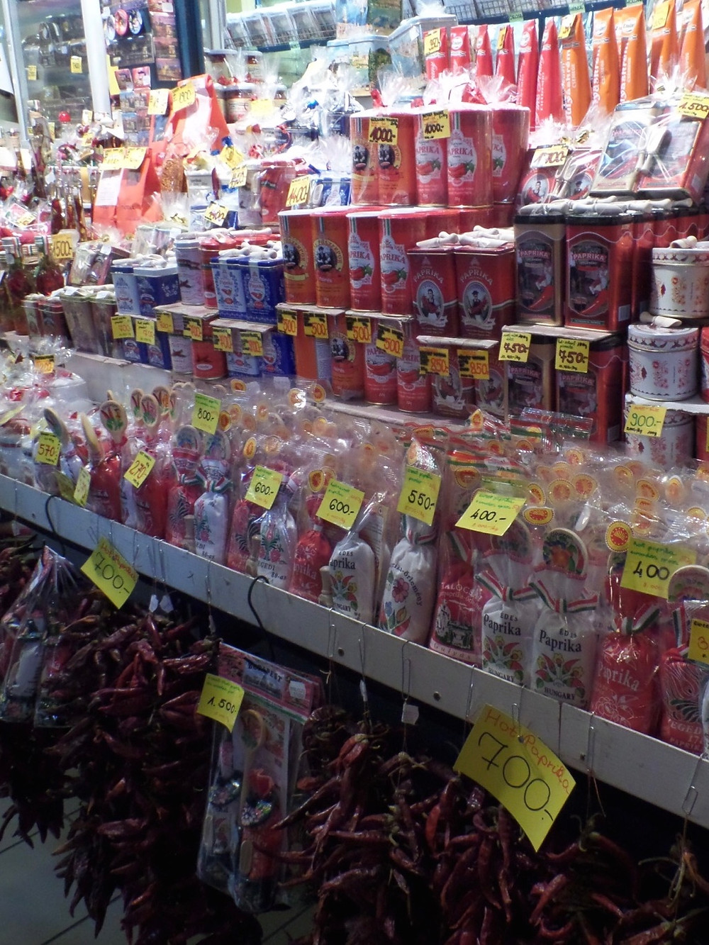 Paprika sold at a market in Hungary