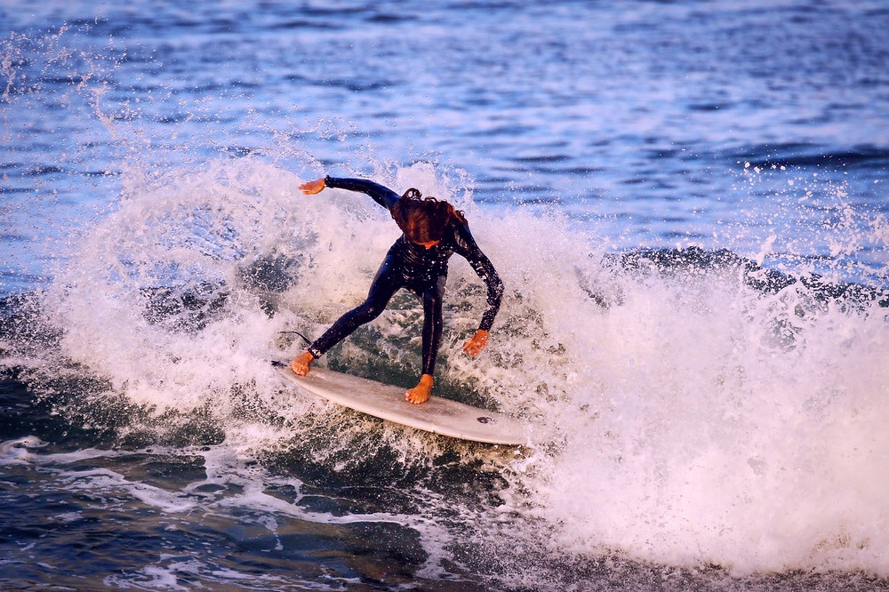 Grayson Daley surfs in the Pacific Ocean off the coast of Southern California.